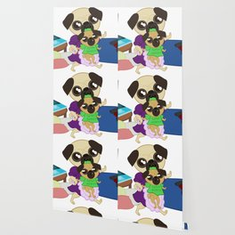 Pugs. Puppy and Mom. Bed Time Wallpaper