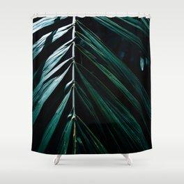 Dark Palm Leaves Shower Curtain
