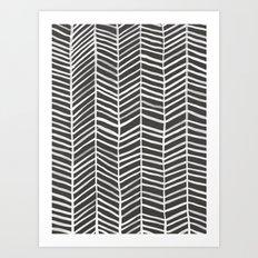 Herringbone – Black & White Art Print