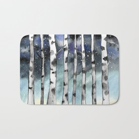 Birch Shadows In Winter Bath Mat