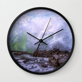 Inner Strength waves crashing at Moonstone Beach California Wall Clock