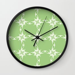 Green Loop Grid Pattern Wall Clock