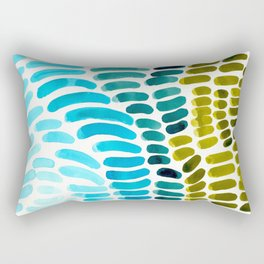 Complementary colors Blue Green Watercolor Natural Pattern Colorful Mid Century Modern Art Rectangular Pillow