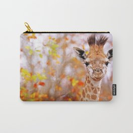 Young giraffe in colorful leaves, South Africa Carry-All Pouch
