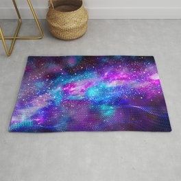 Abstract Nebula #16: Purple blue particles Rug