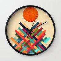 sun Wall Clocks featuring Sun Shrine by Picomodi