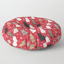 Cat red and white snowflakes festive winter gifts for cat person cat lady cat man christmas Floor Pillow