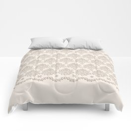 "Damask ""Cafe au Lait"" Chenille with Lacy Edge Comforters"