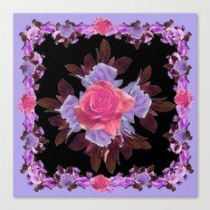LAVENDER PINK ROSE GARDEN LILAC ROSES FLOWERS Art Canvas Print