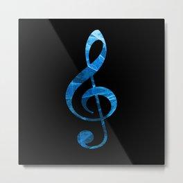 Music Key in Blue Metal Print