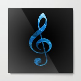 Music Key in Blue Metal Print