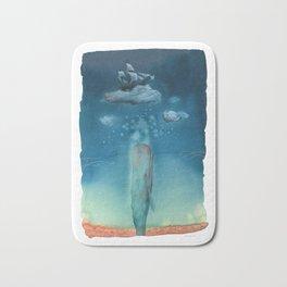 Moby Dick Dreams - Watercolor - Sperm Whale Bath Mat
