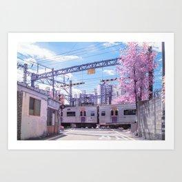 Seoul Anime Train Tracks Art Print