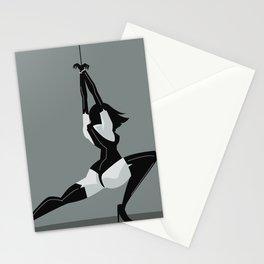 bondage black leather girl Stationery Cards