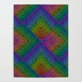Multicoloured hypnotic diamond trance pattern Poster