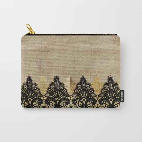 Elegance- Ornament black and gold lace on grunge paper backround Carry-All Pouch