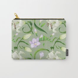 Tropical green seamless pattern with lily and freesia flowers Carry-All Pouch