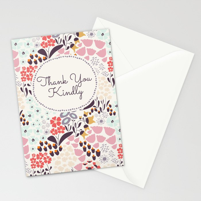Thank you card in Wild Flower Stationery Cards