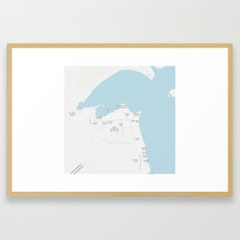 Minimalist Modern Map of kuwait City, Kuwait 9 Framed Art Print