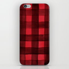Buffalo Plaid Watercolor in Red iPhone Skin
