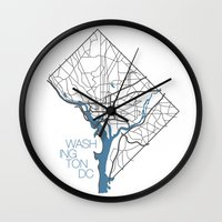dc Wall Clocks featuring Washington, DC by linnydrez