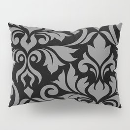 Flourish Damask Art I Gray on Black Pillow Sham