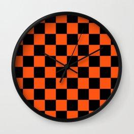 Black and Orange Checkerboard Pattern Wall Clock