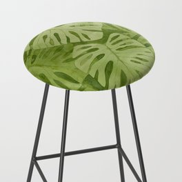 Watercolor Monstera Leaves Bar Stool
