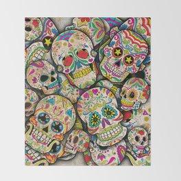 Sugar Skull Collage Throw Blanket