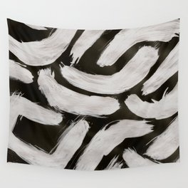 Worms, Abstract, White & Black Wall Tapestry