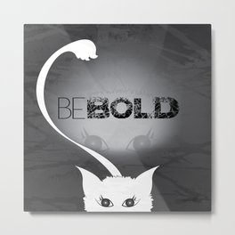 Bold White Cat Metal Print