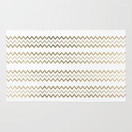 Elegant faux gold white chevron zigzag geometrical pattern Rug