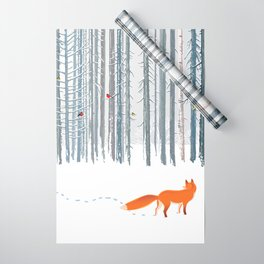 Fox in the white snow winter forest illustration Wrapping Paper
