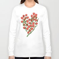 tulips Long Sleeve T-shirts featuring Tulips by June Chang Studio