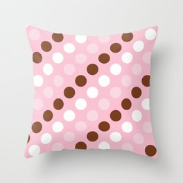 Polka Dots, Spots (Dotted Pattern) - Pink Brown Throw Pillow
