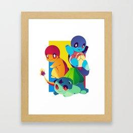 Kanto Starters Poster Framed Art Print
