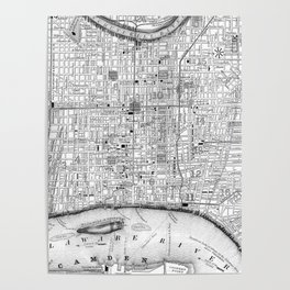 Vintage Map of Philadelphia Pennsylvania (1860) BW Poster
