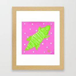 Pink and Green Alligator Framed Art Print