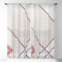 Rainbow Grids Sheer Curtain