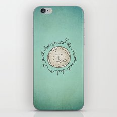 I Love You To The Moon And Back (blue) iPhone Skin