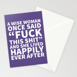 A Wise Woman Once Said Fuck This Shit (Ultra Violet) Stationery Cards