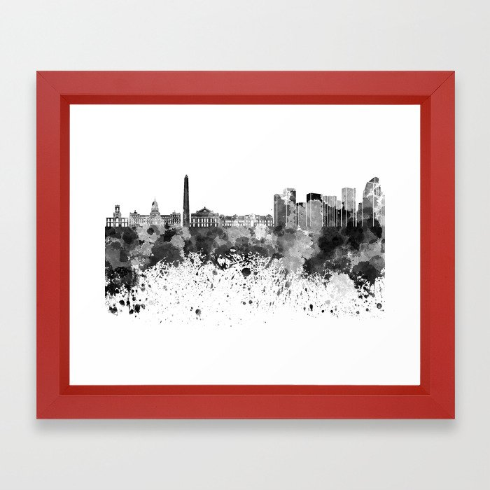 Buenos Aires skyline in black watercolor Framed Art Print