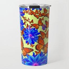 Orange Butterflies Blue  Floral Wreath art Travel Mug