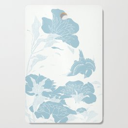 japanese Flowers White and Blue Cutting Board