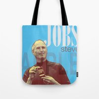 steve jobs Tote Bags featuring Steve Jobs by Thomas Official