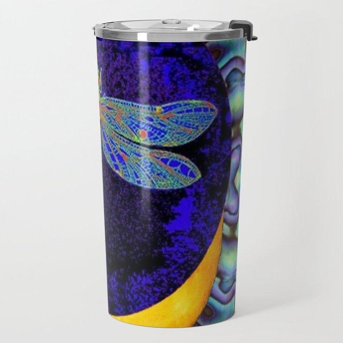 Mystical Midnight- Blue Moon  Gossamer Dragonfly Art  Travel Mug