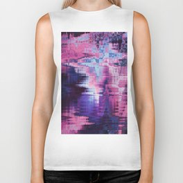 Violet Abstract Glitch effect Biker Tank