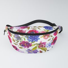 Magenta pink navy blue lilac watercolor floral Fanny Pack