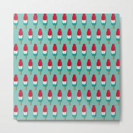 Pop Rockets on Aqua Metal Print
