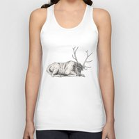 stag Tank Tops featuring Stag // Graphite by Sandra Dieckmann